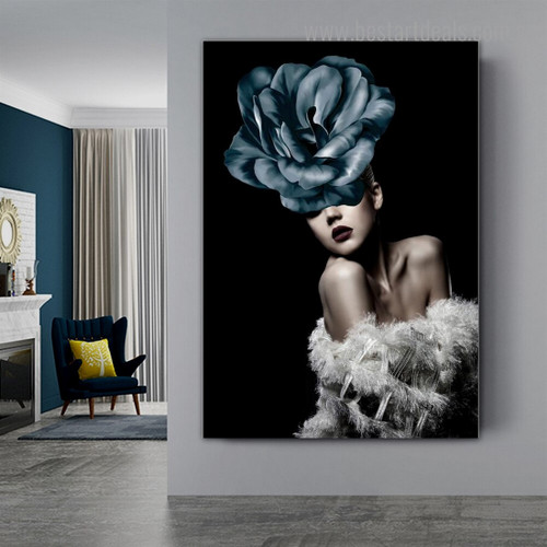 Cyan Bloom Visage Abstract Modern Framed Painting Image Canvas Print for Room Wall Decoration