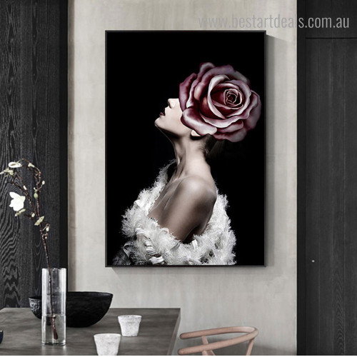 Pink Rose Face Abstract Modern Framed Painting Picture Canvas Print for Room Wall Finery