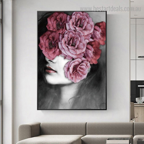 Pink Floral Visage Abstract Modern Framed Painting Image Canvas Print for Room Wall Decoration
