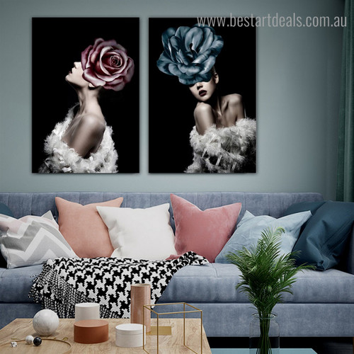 Rose Women Abstract Modern Framed Painting Portrait Canvas Print for Room Wall Adornment