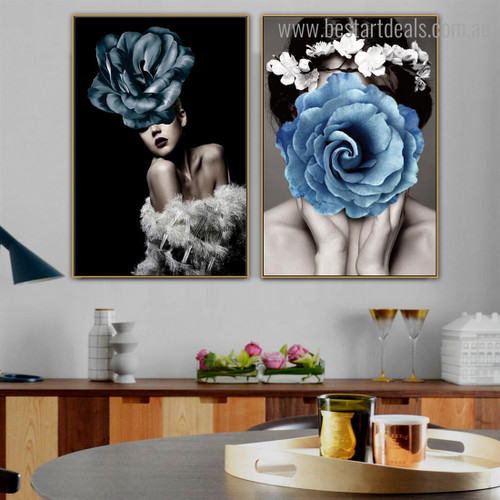 Blue Rose Faces Abstract Modern Framed Artwork Portrait Canvas Print for Room Wall Decoration