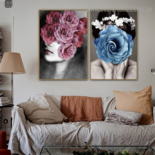 Rosebush Females Abstract Modern Framed Artwork Pic Canvas Print for Room Wall Getup