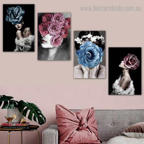Colorific Floral Ladies Abstract Modern Framed Artwork Picture Canvas Print for Room Wall Décoration