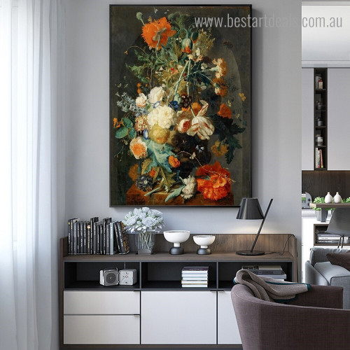 Vase of Flowers Botanical Framed Painting Picture Canvas Print for Room Wall Onlay