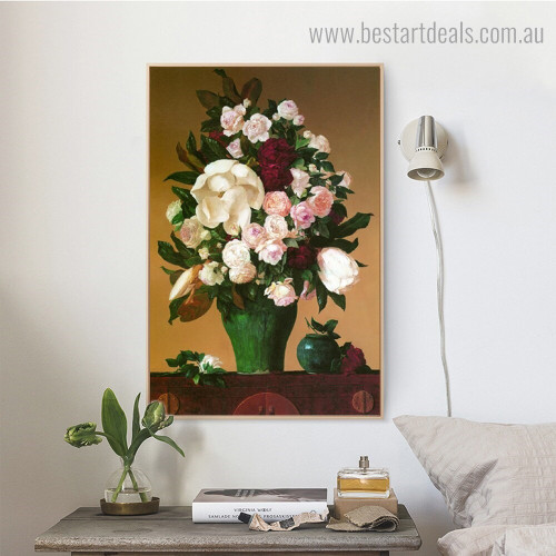 Green Vase Blooms Botanical Framed Painting Pic Canvas Print for Room Wall Onlay