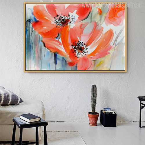 Abstract Pretty Watercolor Red Poppy Painting Print