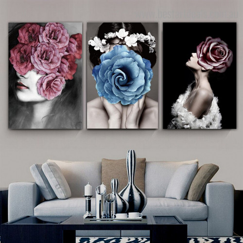Colorific Flower Face Abstract Floral Modern Framed Artwork Pic Canvas Print for Room Wall Drape
