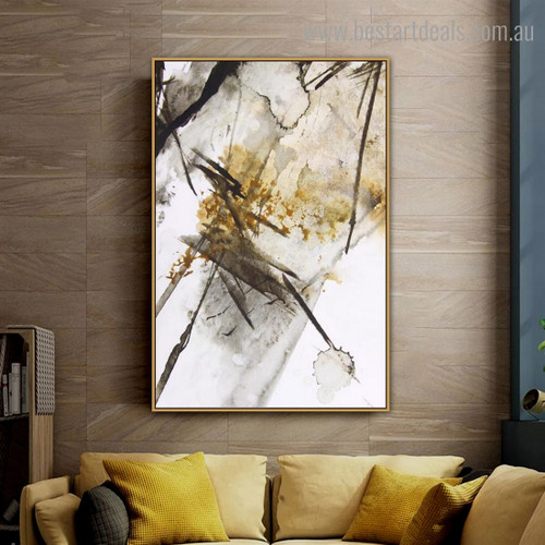 Black Gold Abstract Modern Framed Artwork Picture Canvas Print for Room Wall Assortment