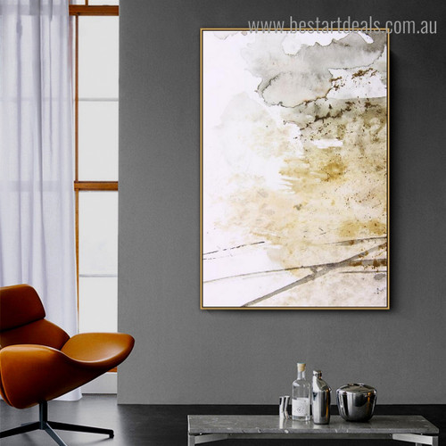 Yellow Black Ink Abstract Modern Framed Artwork Picture Canvas Print for Room Wall Flourish
