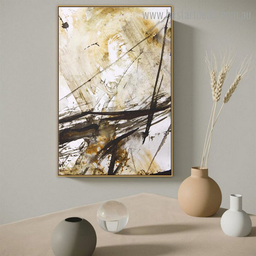 Black Bold Lines Abstract Modern Framed Artwork Pic Canvas Print for Room Wall Getup