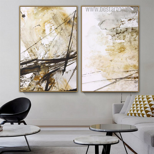 Bold Streaks Abstract Modern Framed Artwork Image Canvas Print for Room Wall Adornment
