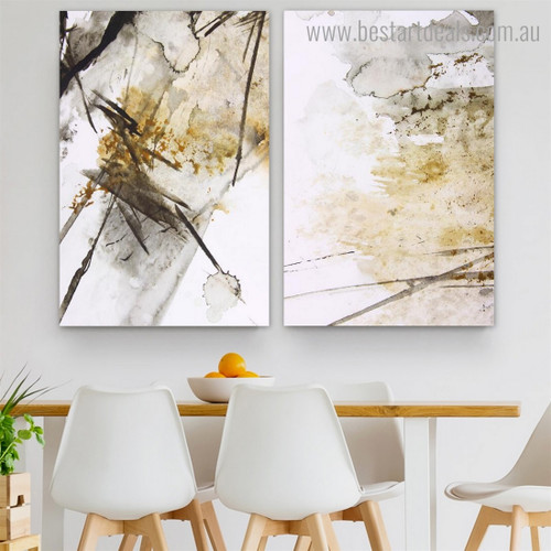 Golden Watercolor Abstract Modern Framed Artwork Portrait Canvas Print for Room Wall Disposition
