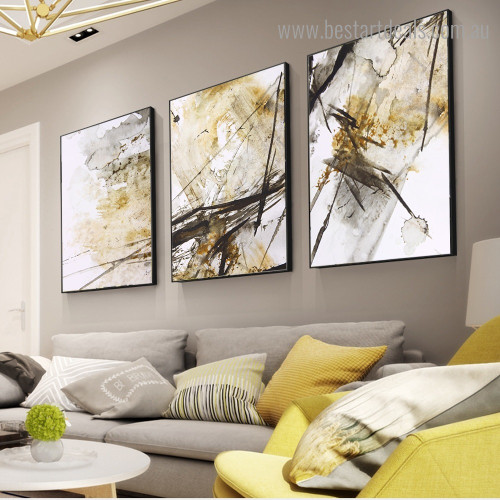 Black Gold Effect Abstract Modern Framed Artwork Image Canvas Print for Room Wall Ornament