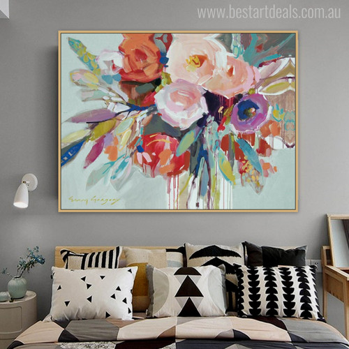 Flower Posy Watercolor Painting Print for Bedroom Wall Decor