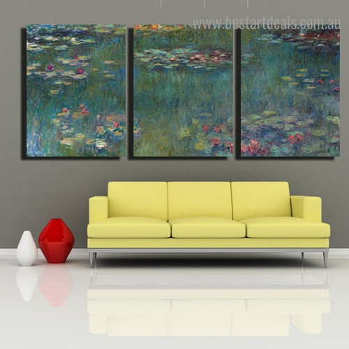 Waterlilies Botanical Impressionist Framed Painting Picture Canvas Print for Room Wall Outfit