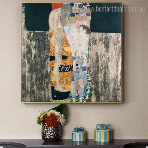 Ages of Woman Figure Reproduction Framed Painting Picture Canvas Print for Room Wall Finery