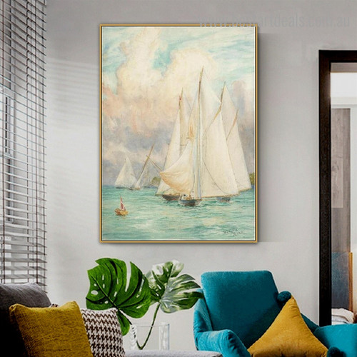 Sails Abstract Landscape Modern Framed Painting Image Canvas Print for Room Wall Outfit