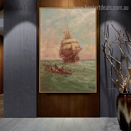 Sea Boats Abstract Landscape Modern Framed Painting Photo Canvas Print for Room Wall Assortment