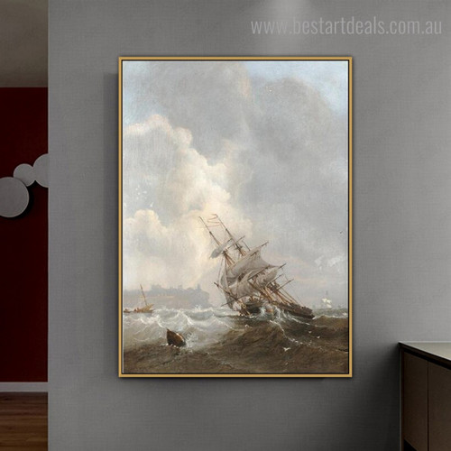 Storm Abstract Landscape Modern Framed Painting Picture Canvas Print for Room Wall Adornment