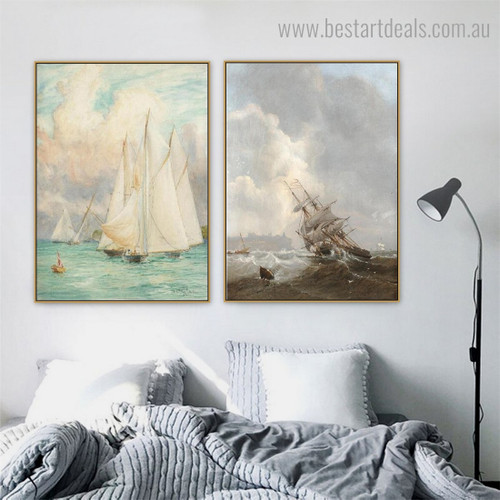 Sea Storm Abstract Landscape Modern Framed Artwork Pic Canvas Print for Room Wall Getup