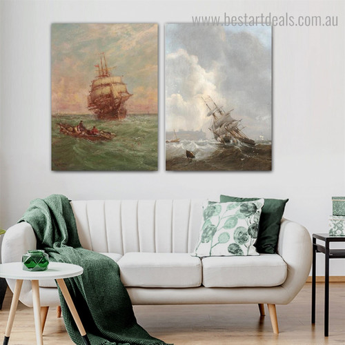 Ocean Boats Abstract Landscape Modern Framed Artwork Portrait Canvas Print for Room Wall Disposition