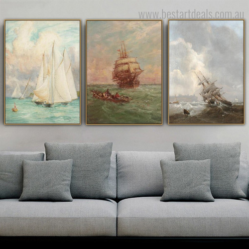 Seascape Abstract Landscape Modern Framed Artwork Image Canvas Print for Room Wall Tracery