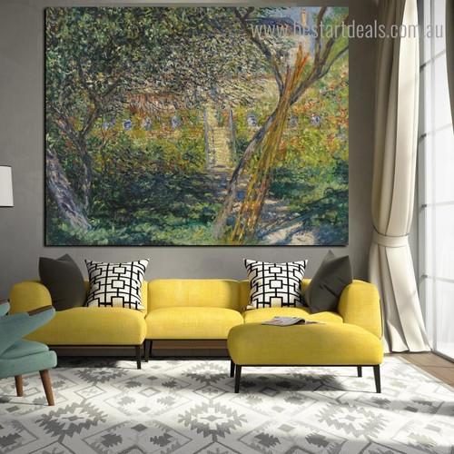 Garden at Vetheuil Landscape Framed Artwork Image Canvas Print for Room Wall Tracery