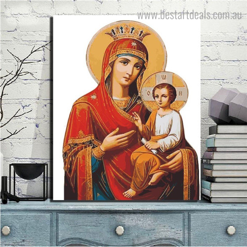 Virgin Mary and Jesus Religious Framed Painting Photo Canvas Print for Room Wall Outfit