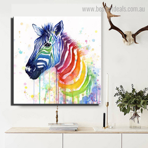 Varicolored Zebra Animal Watercolor Framed Painting Pic Canvas Print for Room Wall Tracery