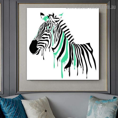 Green Zebra Animal Watercolor Framed Painting Pic Canvas Print for Room Wall Onlay