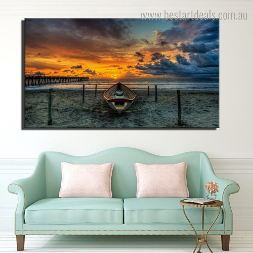 Ocean Sunset Landscape Modern Framed Painting Picture Canvas Print for Room Wall Finery