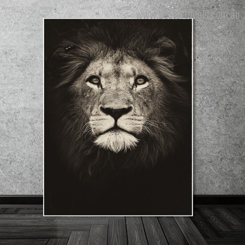 African Lion Face Animal Modern Framed Artwork Picture Canvas Print for Room Wall Molding