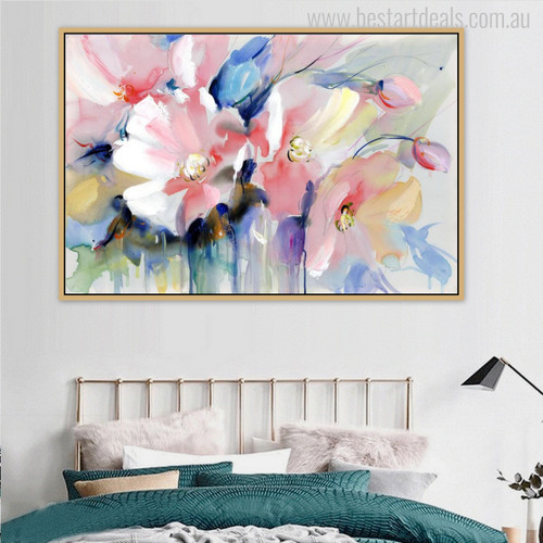 Pink Poppy Abstract Watercolor Painting Print for Bedroom Wall Decor