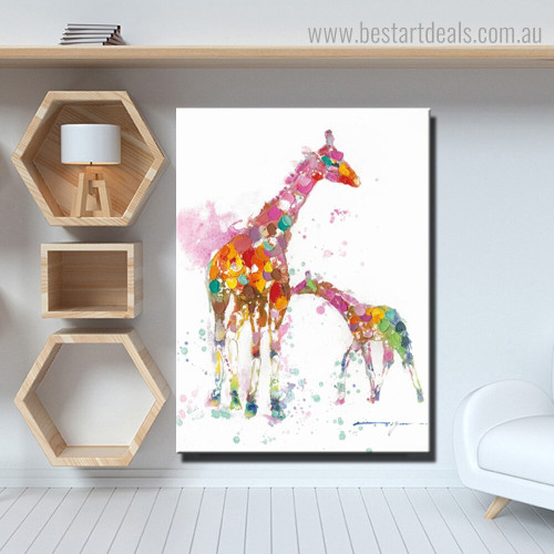 Motley Giraffe Abstract Animal Watercolor Modern Framed Painting Photo Canvas Print for Room Wall Decoration