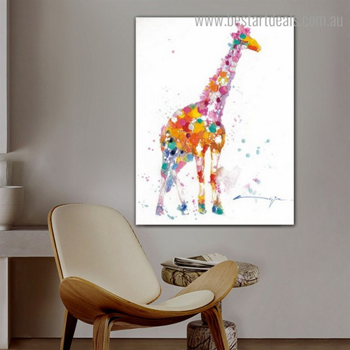 Multicolored Giraffe Abstract Animal Watercolor Modern Framed Painting Photo Canvas Print for Room Wall Decor