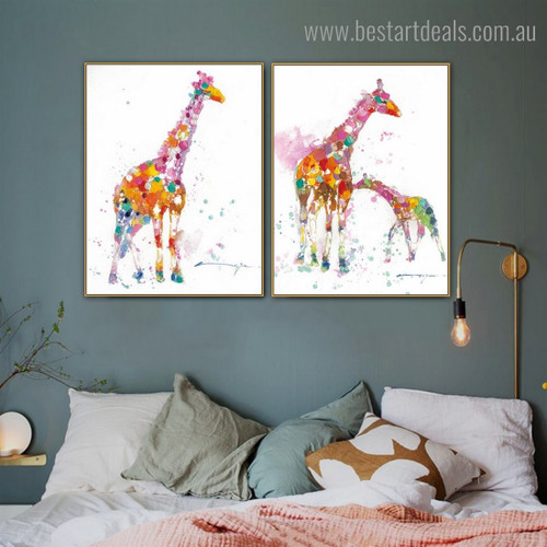 Dapple Giraffes Abstract Animal Watercolor Modern Framed Painting Photo Canvas Print for Room Wall Getup
