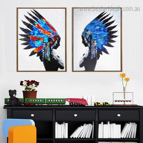 Tribe Women Abstract Figure Framed Painting Portrait Canvas Print for Room Wall Decoration