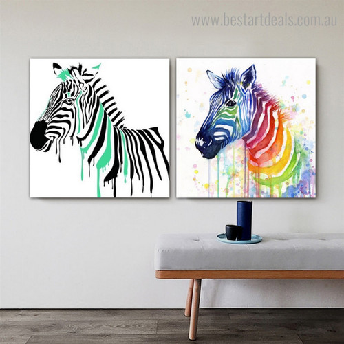 Calico Zebra Abstract Animal Framed Painting Pic Canvas Print for Room Wall Onlay