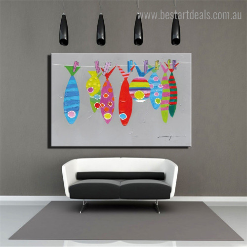 Colorific Fishes Abstract Animal Framed Painting Picture Canvas Print for Room Wall Getup