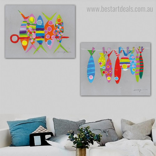 Coloured Fishes Abstract Animal Framed Painting Image Canvas Print for Room Wall Disposition