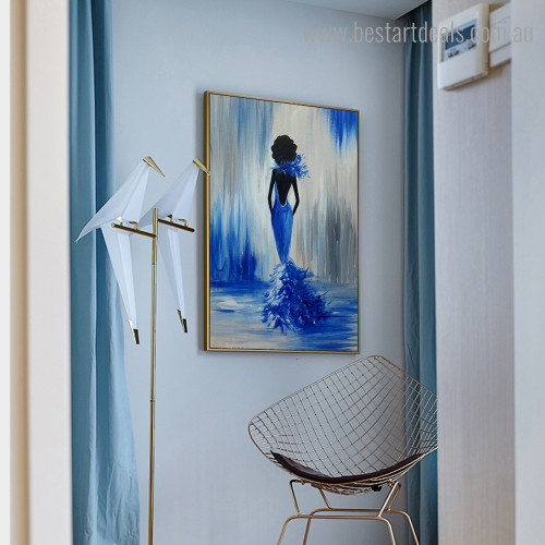 Blue Dancer Abstract Figure Framed Painting Picture Canvas Print for Room Wall Tracery