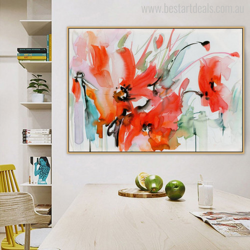 Red Poppy Flower Watercolor Art Print for Dining Room Wall Decor