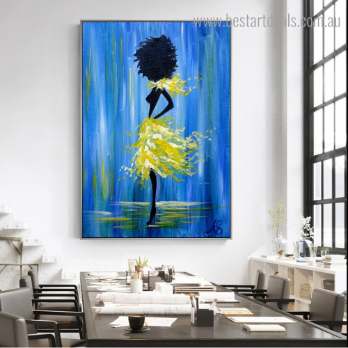 Yellow Dancer Abstract Nude Framed Artwork Pic Canvas Print for Room Wall Finery