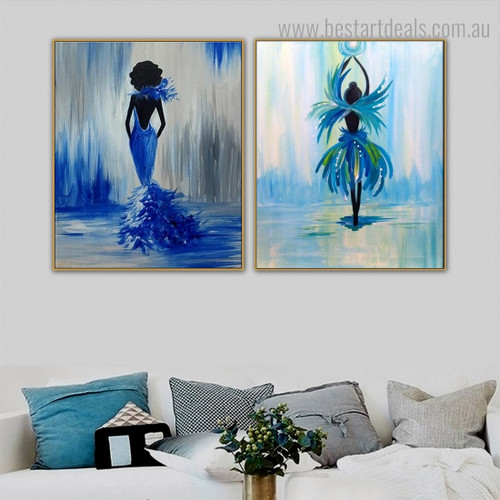 Fairy Dancer Abstract Figure Framed Painting Picture Canvas Print for Room Wall Decor
