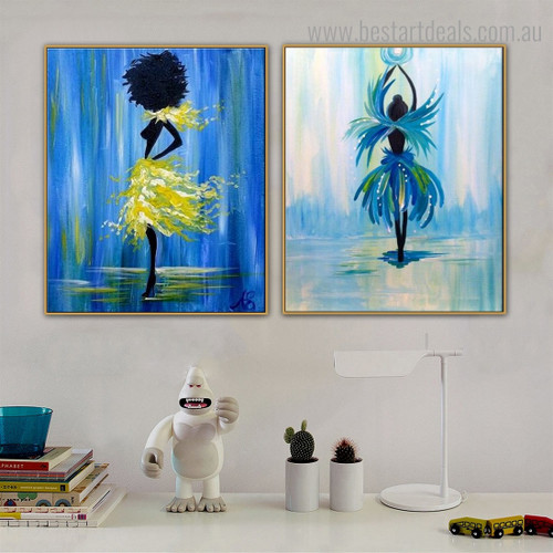 Colorful Dancers Abstract Figure Framed Painting Portrait Canvas Print for Room Wall Onlay