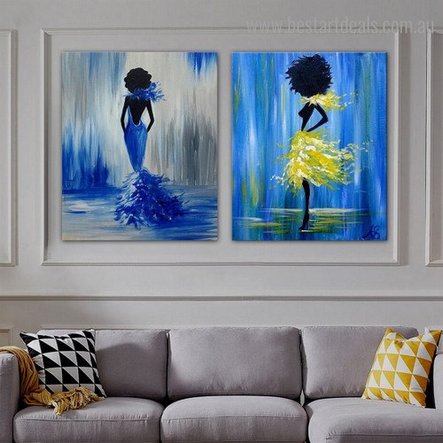 Colorific Showgirl Abstract Figure Framed Painting Pic Canvas Print for Room Wall Finery
