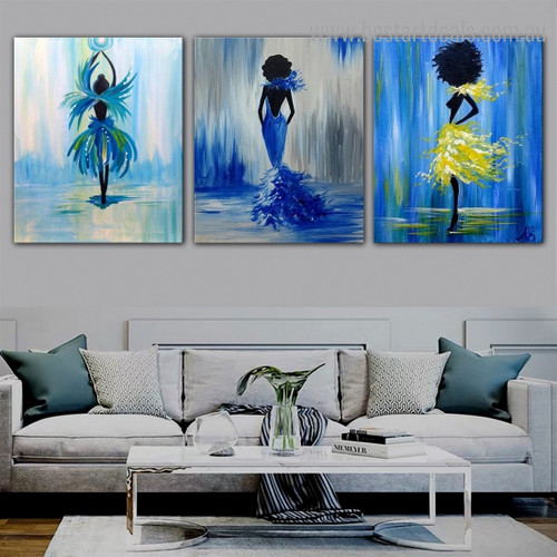 Multicoloured Showgirls Abstract Figure Framed Artwork Pic Canvas Print for Room Wall Finery