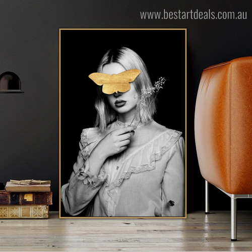 Wench Golden Butterfly Abstract Animal Nordic Framed Artwork Image Canvas Print for Room Wall Disposition