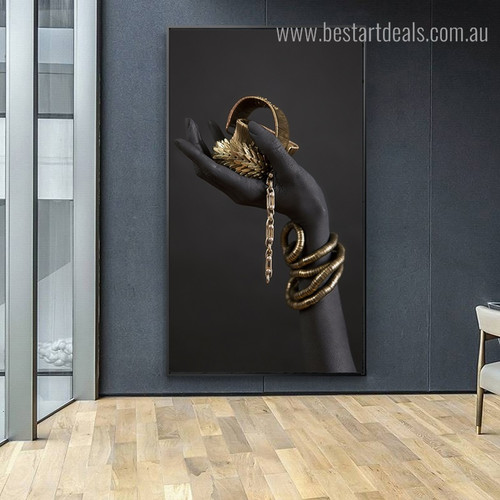 Gold Jewellery Abstract Figure Modern Framed Artwork Photo Canvas Print for Room Wall Decoration