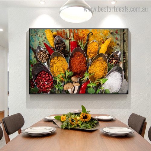 Various Spices Food and Beverages Modern Framed Painting Picture Canvas Print for Room Wall Flourish